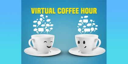 Virtual Coffee hour with two chatty coffee cups